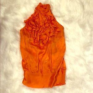 NWT Bebe Orange Silk Sleeveless Ruffle Trim Top